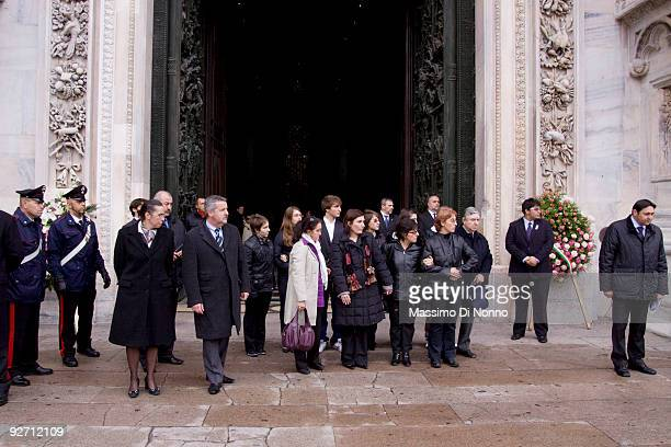 Relatives of Merini attend the funeral service of Italian Poetess Alda Merini at the Milan Cathedral on November 4 2009 in Milan Italy Poetess Alda...