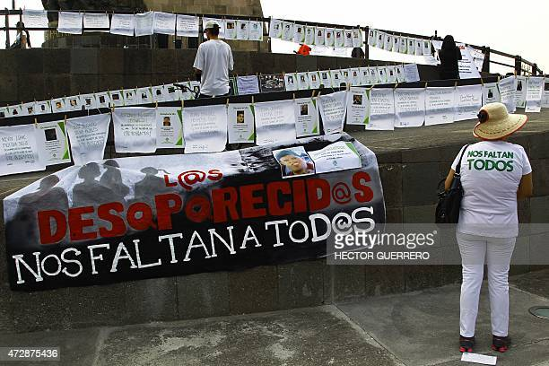 Relatives of missing people hold a demonstration commemorating Mother's Day in Guadalajara Mexico on May 10 2015 Civil societies estimate that there...