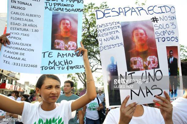 Relatives of missing people take part in a massive protest against violence crime and the disappearance of people in Guadalajara Jalisco State Mexico...