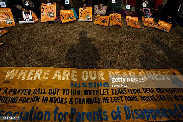Relatives of missing persons attend a sitin demonstration organized by Association of Parents of Disappeared Persons to mark World Human Rights Day...