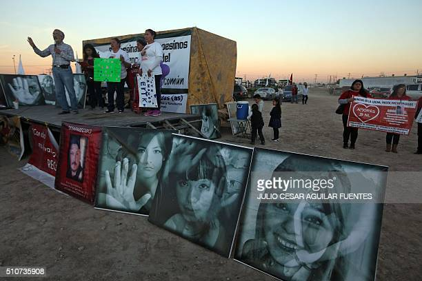 Relatives of missing women and peasants protest near the airport of Ciudad Juarez Mexico on the eve of the arrival of Pope Francis on February 16...