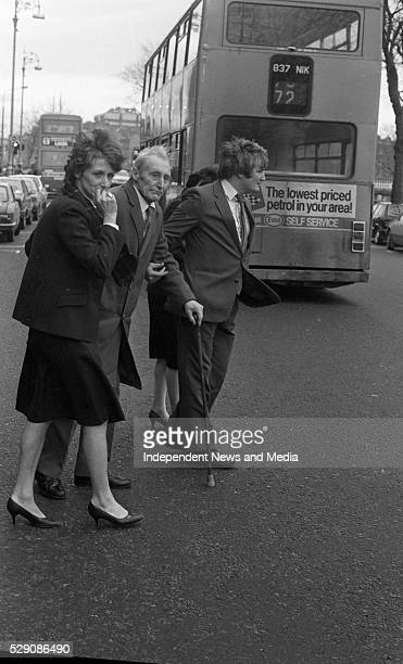 Relatives of murdered farmer Donal Dunne leaving the Central Criminal Court in Dublin. From left: his sister Carmel, his father and brother Christy....
