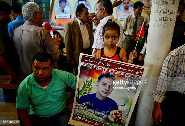 Relatives of Palestinians imprisoned in Israeli jails hold posters during a demonstration demanding the release of Israeliheld Palestinian prisoners...