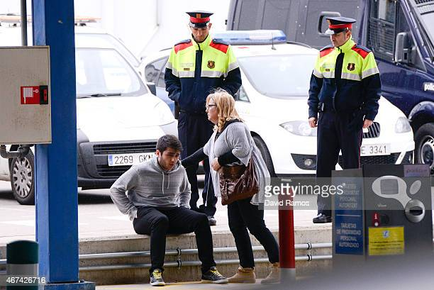 Relatives of passengers of the Germanwings plane crashed in French Alps are seen at the Terminal 2 of the Barcelona El Prat airport on March 24 2015...