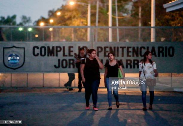Relatives of prisoners leave Jorge Navarro prison known as The Model in Tipitapa Managua on February 26 2019 Mothers of alleged political prisoners...