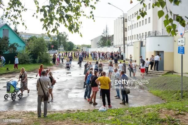 Relatives of protesters detained during yesterday's election seek answers at a pretrial detention center on August 10 2020 in Minsk Belarus President...