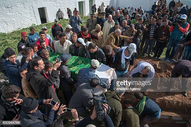 Relatives of Rabia elMustain one of the victims who was killed in Istanbul nightclub terror attack attend the funeral ceremony in El Jadida Morocco...