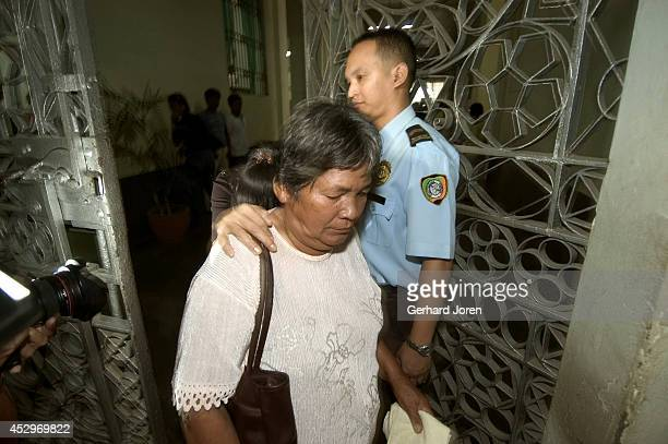Relatives of Roderick Licayan leave the New Bilibid Prison after visiting him after the news from the Supreme Court that the execution for him and...