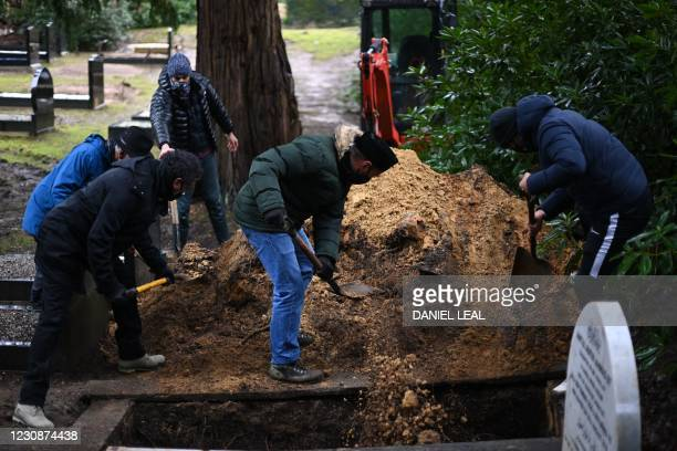 Relatives of Shakira Khan, who passed away at the age of 67 after testing positive for Covid-19, shovel earth onto the coffin to fill the grave...