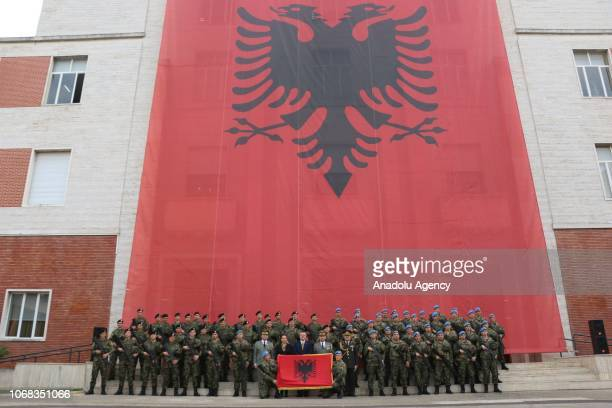Relatives of soldiers attend a farewell ceremony of 66 Albanian soldiers who will depart to serve for six months under the Turkish Military Union in...