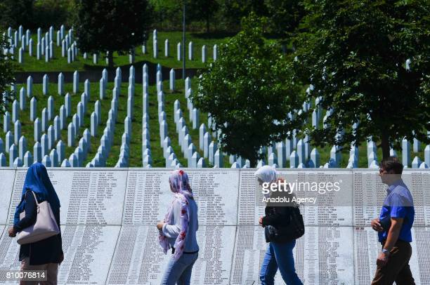 Relatives of Srebrenica Massacre victims arrive to pray ahead of funeral ceremony of 70 people, who died in the Srebrenica Massacre and will be...