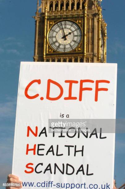 Relatives of sufferers of Clostridium Difficile take part in a march to Westminster today