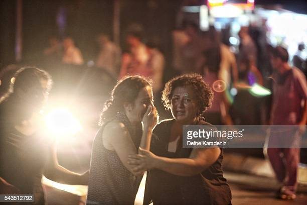 Relatives of the Ataturk Airport suicide bomb attack victims wait outside Bakirkoy Sadi Konuk Hospital in the early hours of June 29 Turkey Three...