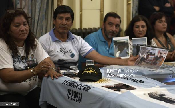 Relatives of the crew members of the ARA San Juan submarine meet with Argentina's President Mauricio Macri at Casa Rosada in Buenos Aires on February...