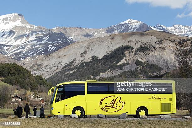Relatives of the Germanwings Airbus A320 crash victims arrive on April 7 2015 in the village of Le Vernet A German Airbus A320 of the lowcost carrier...