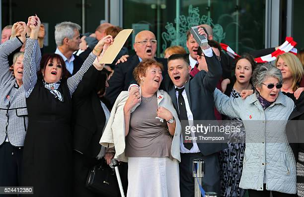 Relatives of the Hillsborough sing 'You'll never walk alone' as they depart Birchwood Park after hearing the conclusions of the Hillsborough inquest...