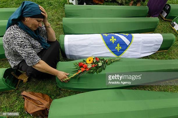 Relatives of the Srebrenica victims mourn for the 175 newly identified Srebrenica victims on July 10 arrived at SrebrenicaPotocari Memorial and...