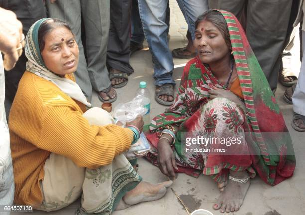 Relatives of the train mishap victims at Rasoolabad ghat after crematiing their loved ones Allahabad