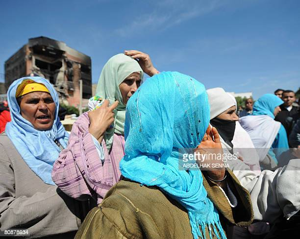 Relatives of the victims of a fire in a mattress factory react on April 27 2008 in Casablanca Fiftyfive people were killed and 12 seriously injured...