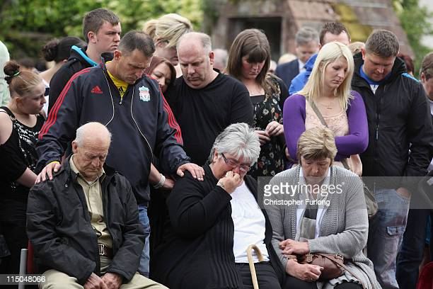Relatives of the victims of gunman Derrick Bird including Ted Scones and Betty Scones the step father and mother of Darren Rewcastle with Sue and...