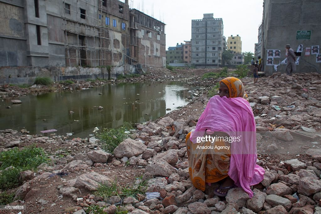 Relatives of the victims of Rana Plaza building collapse visit the site of the accident to mourn the loss of their relatives and mark the second-year anniversary of the incident at Savar in Dhaka, Bangladesh, on April 23, 2015.