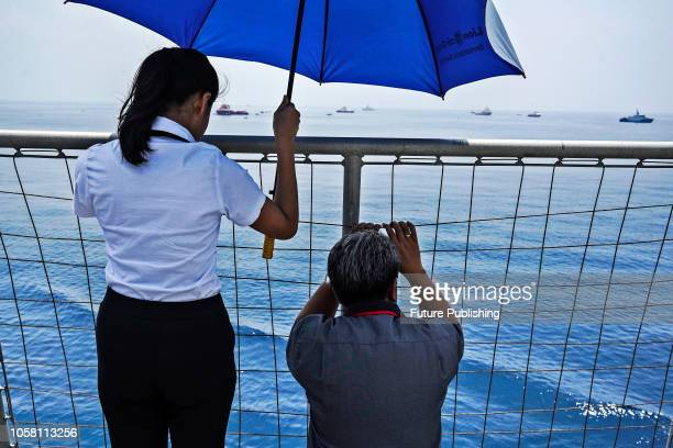 Relatives of the victims of the illfated Lion Air flight JT 610 see a ships that is looking for an undiscovered victim as they visit the site of the...