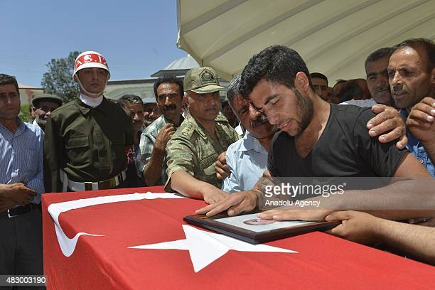 Relatives of Turkish soldier Abdulhalit Aras who was killed when suspected Kurdistan Workers Party militants attacked on a base in Silopi mourn...
