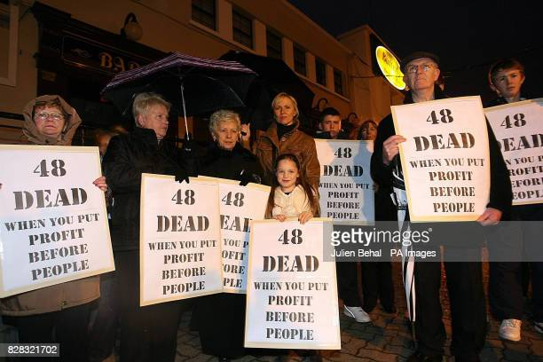 Relatives of victims and survivors of the Stardust fire 25 years ago protest on the proposed site of a new bar on the old Stardust site at Butterly...