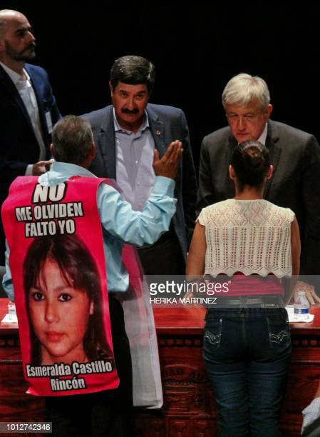 Relatives of violence victims speak with Mexican Presidentelect Andres Manuel Lopez Obrador during the forum For Peace and National Reconciliation in...