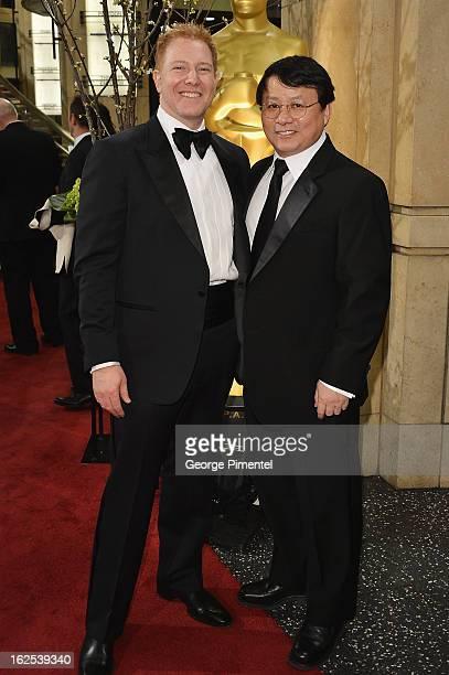 Relativity Media CEO Ryan Kavanaugh and Founding Partner IDG China Media Hugo Shong arrive at the Oscars at Hollywood Highland Center on February 24...