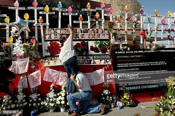 Relativse of victims of the Casino Royale put a flower on a cross during the commemoration of the first anniversary of the crime in Monterrey,...