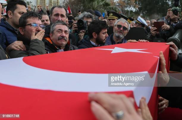 Relatvies of Staff Captain Pilot Mehmet Ilker Karaman who was martyred during Turkey's counterterrorist operation in northern Syria mourn during the...