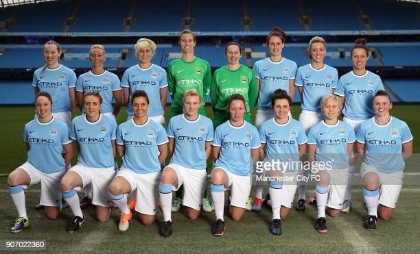 ReLaunch Of Manchester City Women's Football Club Etihad Stadium Jess Holbrook Toni Duggan Stephanie Houghton Karen Bardsley Andrea Worral Jill Scott...