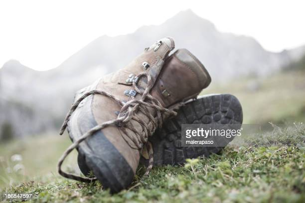 Relax in hike. Hiking boots.