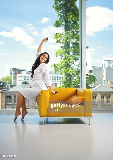 relax in the morning - women of penthouse stock photos and pictures