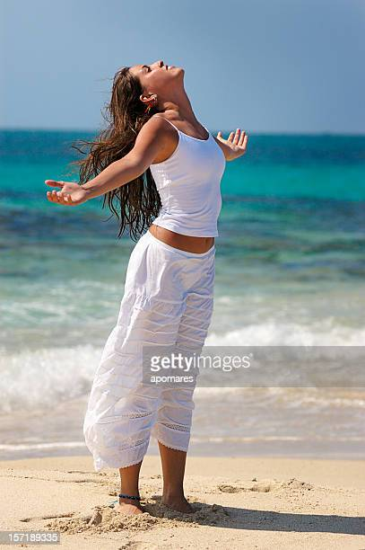 relaxation exercise - beautiful polynesian women stock photos and pictures