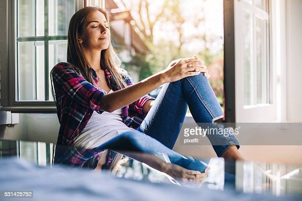 relaxation - serene people stock pictures, royalty-free photos & images