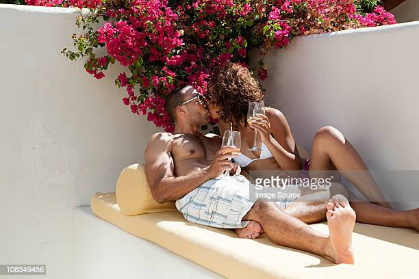 Relaxed couple kissing