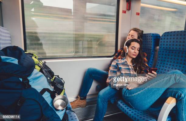 Relaxed couple traveling in train