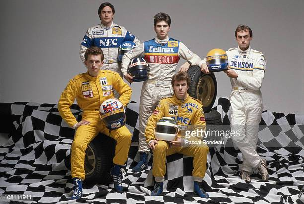 Relaxed group picture titled Sons of Speed showing the sons of former motor racing world champions who have followed their fathers into motorsport....