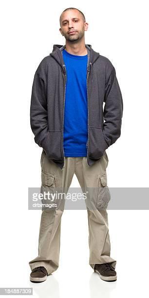 Relaxed Man in Unzipped Sweatshirt