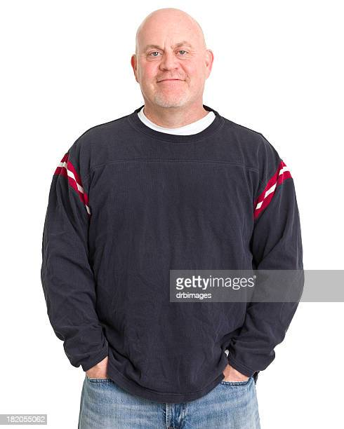 relaxed mature man portrait - long sleeved stock pictures, royalty-free photos & images