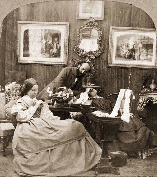 A relaxed scene in a Victorian living room.