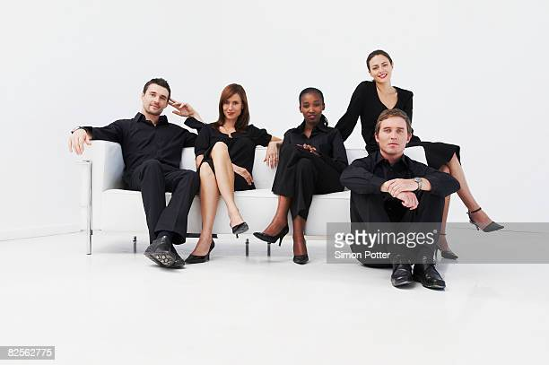 Relaxed, seated business group