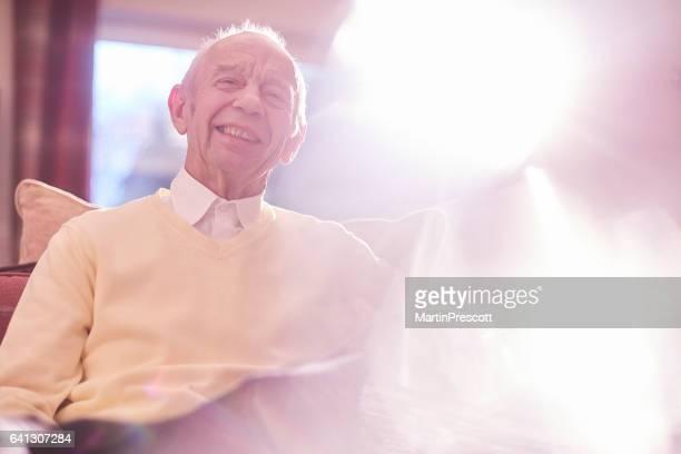 relaxed smiling senior man