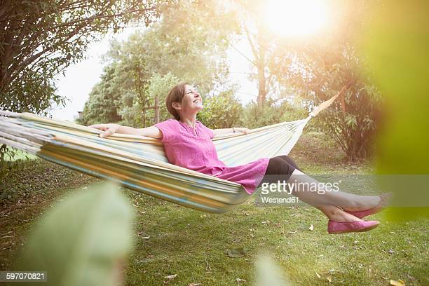 Relaxed woman in hammock