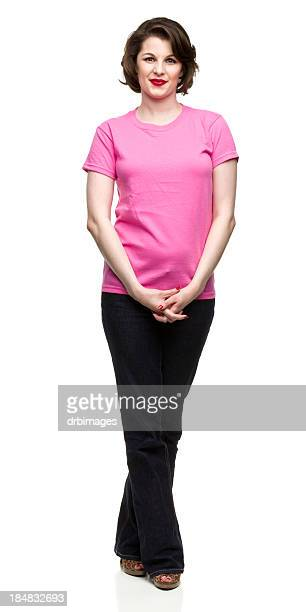 relaxed woman posing - short sleeved stock pictures, royalty-free photos & images