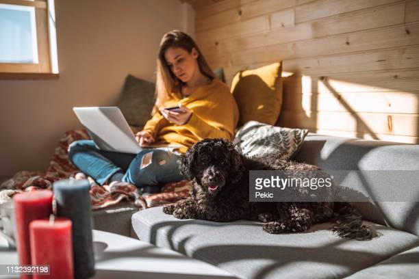 relaxed woman purchasing online from living room - spending money stock pictures, royalty-free photos & images