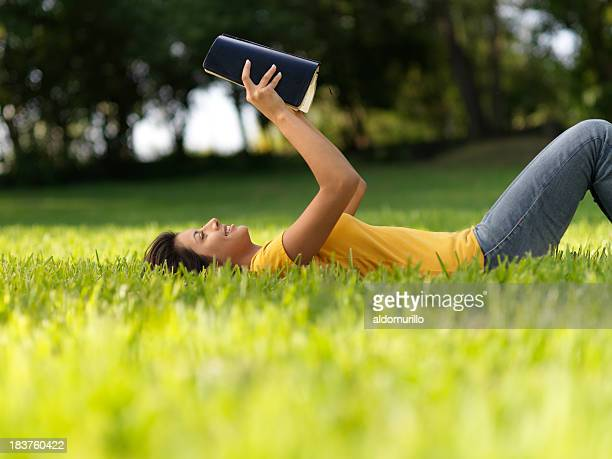 Relaxed woman reading