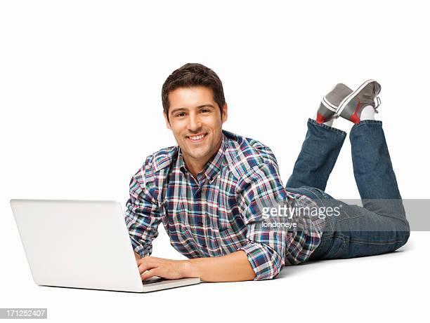 tranquilo joven usando ordenador portátil aislado - acostado boca abajo fotografías e imágenes de stock